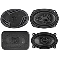 (2) Rockville RV69.4A 6x9 1000w 4-Way Car Speakers+(2) 4x6 500w 3-Way Speakers