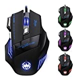 DLAND Professional LED Optical 7200 DPI 7 Button USB Wired Gaming Mouse for Pro Game Notebook, PC, Laptop, Computer, Black
