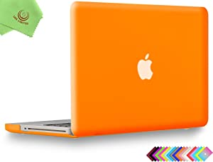 UESWILL Smooth Soft-Touch Matte Hard Shell Case Cover for MacBook Pro 15 inch with CD-ROM (Non-Retina) (Model A1286) + Microfibre Cleaning Cloth, Orange