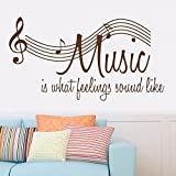 Boodecal Music Is What Feelings Sound Like Music Quotes Stave Wall Decals Removable Music Vinyl Lettering Art Stickers for Teen Girls Birthday Gilfs Studio Music Room Bedroom Sofa Decor 42*22 Inches