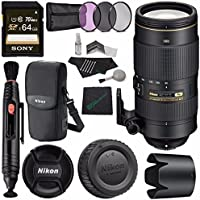 Nikon AF-S NIKKOR 80-400mm f/4.5-5.6G ED VR Lens MFR # 2208 + Sony 64GB UHS-I SDXC Memory Card (Class 10) + 77mm 3 Piece Filter Set (UV, CPL, FL) + Microfiber Cleaning Cloth + Lens Pen Cleaner Bundle