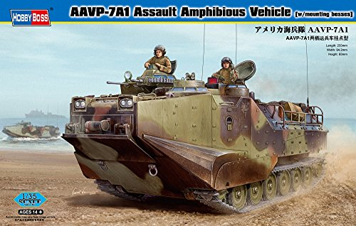 Hobby Boss AAVP-7A1 Assault Amphibious Vehicle Model Building Kit with Mounting Bosses