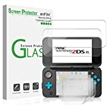 Nintendo 2DS XL Screen Protector Pack, amFilm [2 GLASS Top, 4 PET Bottom] Screen Protectors for New Nintendo 2DS XL 2017 (6 Protectors in Package)
