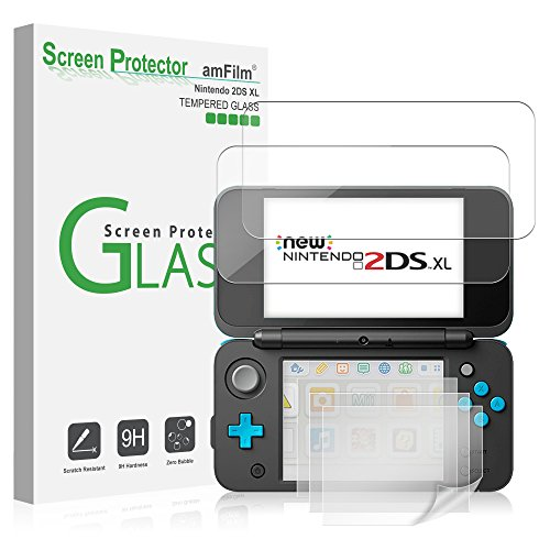 Price comparison product image Nintendo 2DS XL Screen Protector Pack,  amFilm [2 GLASS Top,  4 PET Bottom] Screen Protectors for New Nintendo 2DS XL 2017 (6 Protectors in Package)