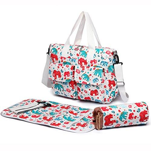 Miss Lulu 3piezas nuevo elefante impresión bolsa de pañales de bebé pañales Mummy bolso de mano grande Tote limpiar beige 6603 Beige 6603 Beige