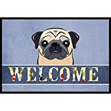 "Caroline's Treasures BB1448MAT Fawn Pug Welcome Indoor or Outdoor Mat, 18 x 27"", Multicolor"