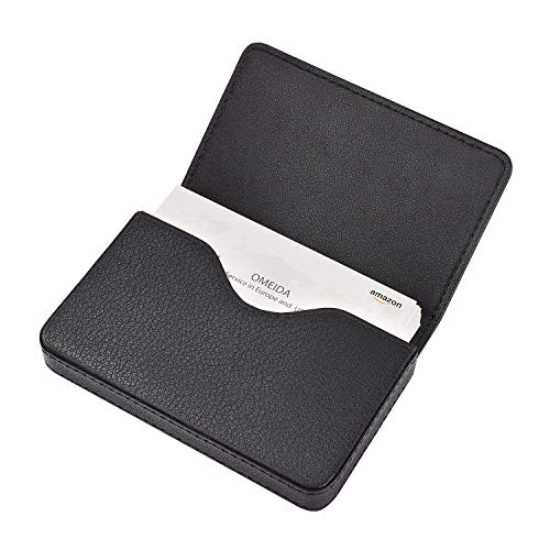 MaxGear Genuine Leather Business Card Holder Case for Men or Women Name Card Case Holder with Magnetic Shut Black,Holds 25 Business Cards
