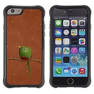 WAWU Funda Carcasa Bumper con Absorci??e Impactos y Anti-Ara??s Espalda Slim Rugged Armor -- bird branch brown green funny art -- Apple Iphone 6
