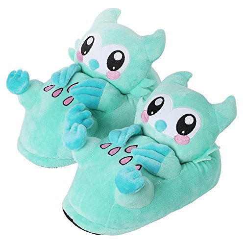 corimori 1847 - Owl Minty Cute Plush 3D Animal Shaped Slippers, Funny Lounge Shoes, Womens Sizes 4-13 -