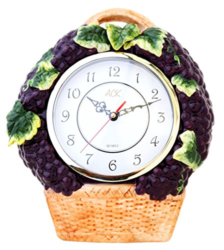 Grape Ceramic - 3-D Grape Ceramic Clock 14.5