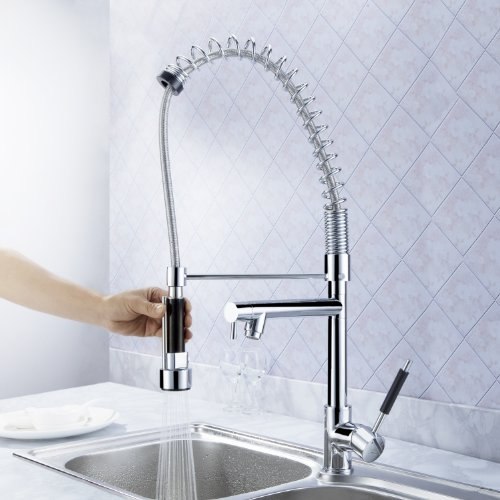 Sprinkle New Ceramic Valves Deck Mount Single Handle Solid Brass Spring Kitchen Faucet With