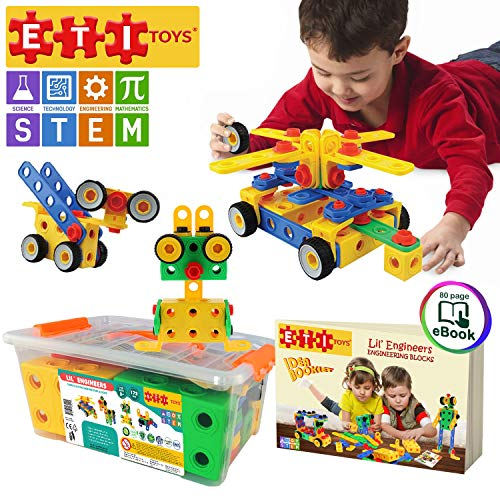 ETI Toys | STEM Learning | Original 172 Piece Educational Construction Engineering Building Blocks Set for 3, 4 and 5+ Year Old Boys & Girls | Creative Fun Kit | Best Toy Gift for Kids Ages 3yr – 6yr -
