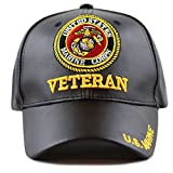 THE HAT DEPOT Official Licensed 3D Embroidered Soft Faux Leather Veteran Military Cap (U.S.Marine-Black)