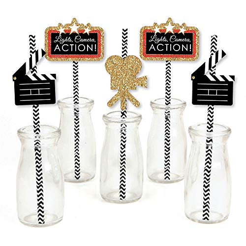 Red Carpet Hollywood - Paper Straw Decor - Movie Night Party Striped Decorative Straws - Set of 24 ()