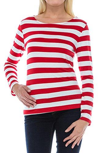 [Wenda Costume Adult Women's Red White Stripe Shirt - Made in USA - M] (Wenda Adult Costumes)