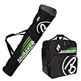 HENRY BRUBAKER ''Champion'' Combo Ski Boot Bag and Ski Bag for 1 Pair of Ski up to 170 cm, Poles, Boots and Helmet - Black Green