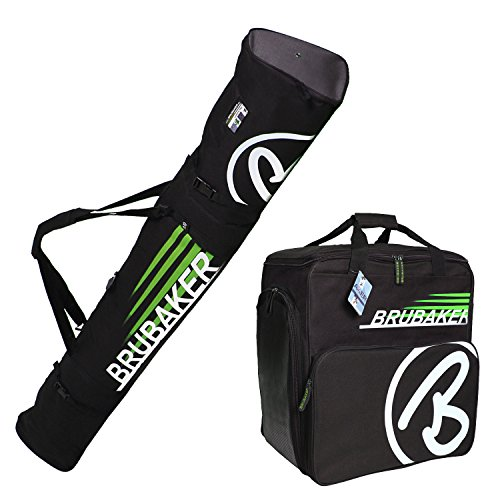 HENRY BRUBAKER ''Champion'' Combo Ski Boot Bag and Ski Bag for 1 Pair of Ski up to 170 cm, Poles, Boots and Helmet - Black Green by BRUBAKER
