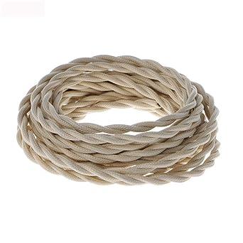 75 Électrique Textile Blanc X 0 2 Câble Vintage Mm2 Torsadé 35LAj4Rqc