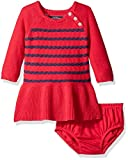Nautica Baby Raglan Sweater Dress with Rope Stripe Full Rib Skirt, Berry, 3 Months