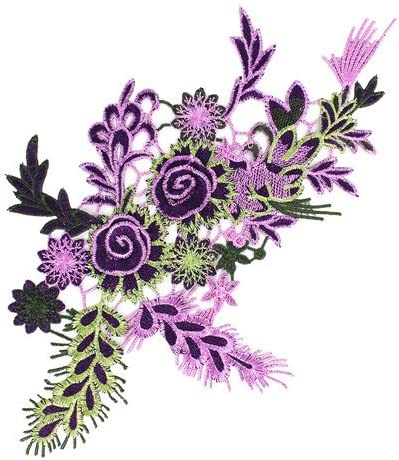 1pieces Embroidered Patches 3D Flower Applique DIY Sewing Repair Accessories Fabric Wedding Clothing Dress Floral Decorative Patches T2642 (violet) / 1pieces Embroidered Patches 3D Flower Applique DIY Sewing Repair Accessories Fabr...
