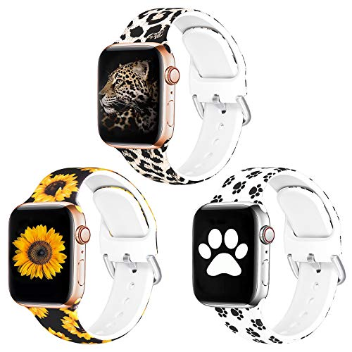 SKYLET Compatible with Apple Watch Bands 38mm 40mm Women Men 42mm 44mm, 3 Pack Soft Sport Floral Printed Pattern Replacement Straps Compatible with Apple Watch Series 6/5/4/3/2/1/SE