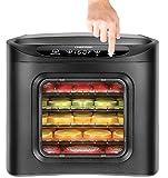 #2: Chefman Food Dehydrator Machine, Electric Multi-Tier Food Preserver, Meat or Beef Jerky Maker, Fruit Leather, Vegetable Dryer w/6 Slide Out Drying Rack Trays & Transparent Door, Black