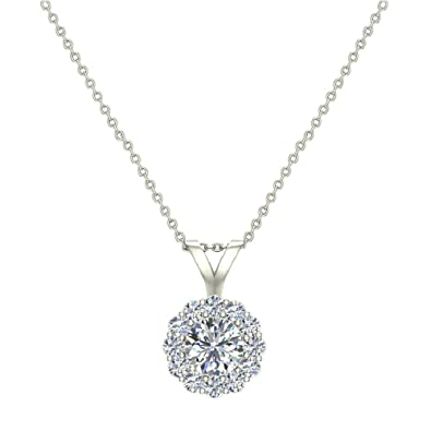 Halo Diamond Necklace Round Brilliant Earth-mined 14K Gold Pendant (G,VS)  Signature Rare Quality