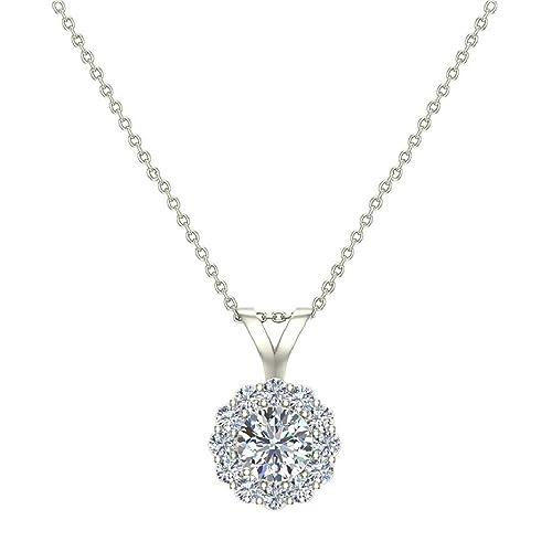 20e219fd5fac3 Halo Diamond Necklace Round Brilliant Earth-mined 14K Gold Pendant (G,VS)  Signature Rare Quality