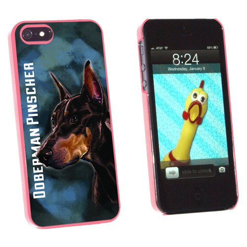 Graphics and More Doberman Pinscher Red On Blue - Dog Pet - Snap-On Hard Protective Case for Apple iPhone 5/5s - Non-Retail Packaging - Pink