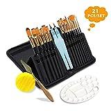Best Coloring Brush Pen Sets - Lasten 21 Pcs Paint Brush Set,Professional Artist Acrylic Review