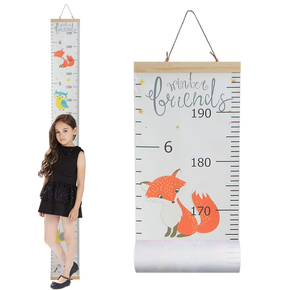 "Growth Chart for Kids,Wall Nursery Decor with Canvas & Wood Frame Handing Removable Wall Ruler, Cartoon Height Measurement, Scale, Ruler Decor for School Kids Room Bathroom 79""x7.9"" (Fox)"