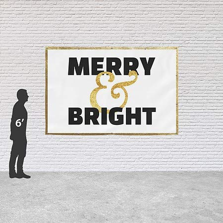 Holiday Decor Merry and Bright Heavy-Duty Outdoor Vinyl Banner CGSignLab 9x6