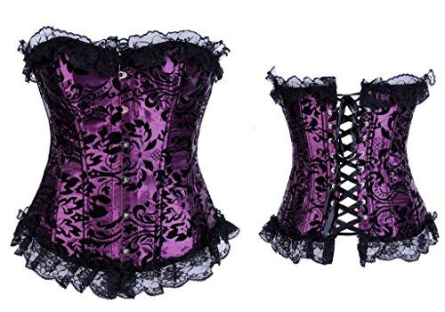 Alivila. Y Fashion para mujer Vintage Brocade Overbust corsé de encaje Púrpura