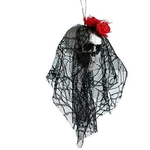 Chezaa Halloween Skull Props Scary Hanging Decor Pirates Corpse Haunted House Bar Home Garden -