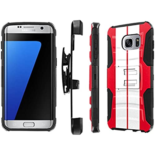 S7 Edge / GS7 Edge [5.5 Screen] Case, [NakedShield] [Black/Black] Heavy Duty Holster Armor Tough Case - [Red Sales