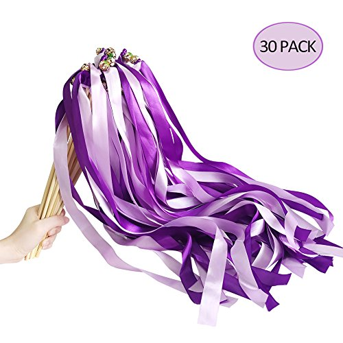 - Hangnuo 30 Pack Ribbon Wands Wedding Streamers with Bells, Fairy Stick Wand Party Favors for Baby Shower Holiday Celebration, Double Purple
