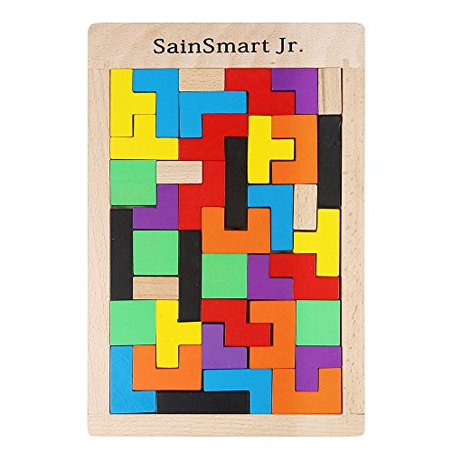 5160cHmfCSL - SainSmart Jr. Wooden Tetris Puzzle 40 Pcs Brain Teasers Toy for Kids, Wood Puzzle Box Brain Games Wood Burr Tangram Jigsaw Toy Children Days