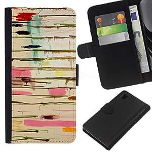 EJOY---La carpeta del tirón la caja de cuero de alta calidad de la PU Caso protector / Sony Xperia Z1 L39 / --Pintura rosada Dripping Abstract Sucias Colores