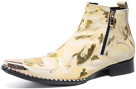 YZT QUEEN Zapatos de Cuero para Hombres, Botines Chelsea con ...