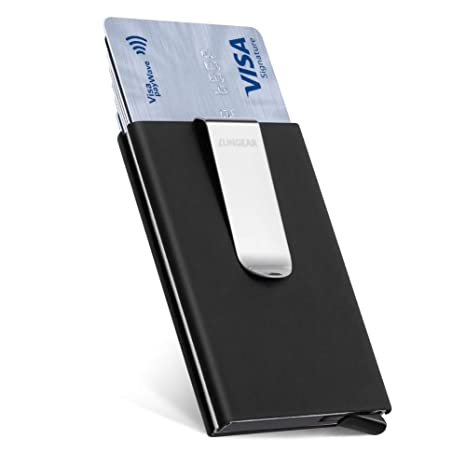 bdb235084009 LunGear Credit Card Holder RFID Blocking,Pop Up Metal Card Case with Money  Clip,