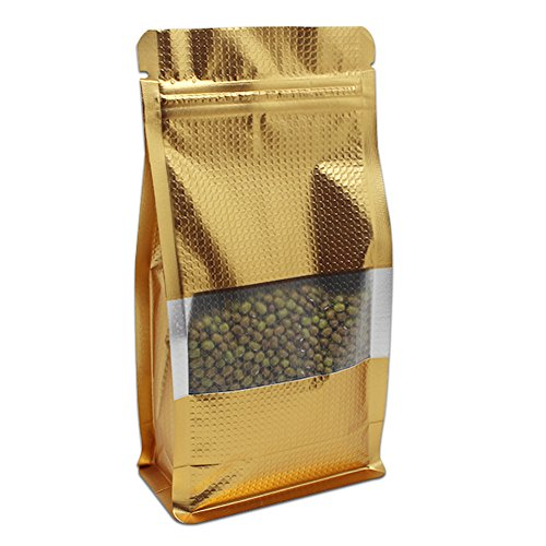 """50 Pcs Gold Embossed Aluminum Foil Bags Resealable Side Gusset Ziplock Stand Up Mylar Bag Heat Seal Food Grade Storage Coffee Beans Packaging Pouch with Clear Window (10x20+3cm (3.9""""x7.9""""+1.2""""))"""