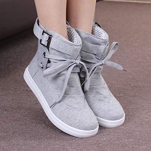 Planas Invierno Gris Gran Mujeres De Mujer Mujer E Tamaño Shoe Pantalones Zapatos Cortos Botas Otoño Phy ASzfqw