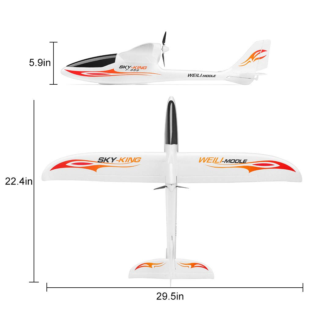 Hisoul F959 RC Airplane 2.4G 3CH Radio Control Remote Control Backward Pusher Glider RTF for Beginner Best Gift - Shipped from US (♥ White) by Hisoul (Image #6)