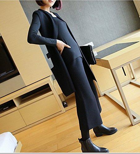 Cardigan Ensemble Casual Genou Au Ru Xiang Droit Noir Sans Lâche Manches Pantalon E5qAc