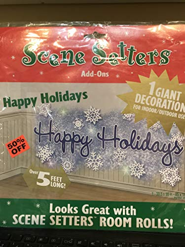 (Happy Holiday Snowflakes Scene Setter 1 ct Christmas Party Supply and Decoration)