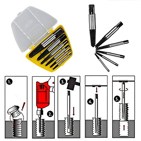 L-TMS Damaged Spiral Flute Screw/Bolt/Stud Extractor Remover Set, 6 Piece (Kobalt Hole Saw Set)
