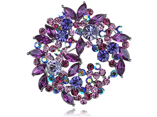 Alilang Violet Lavender Purple Crystal Rhinestone Floral Wreath Brooch Pin