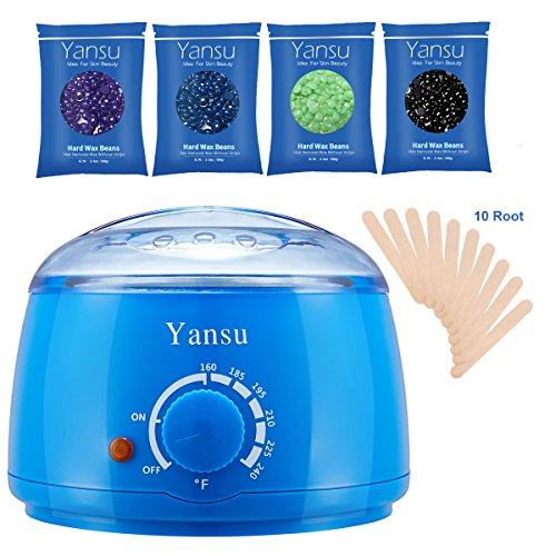 Yansu Waxing Hair Removal Electric Hot Wax Warmer Adjustable Hard/Soft Wax Beans Paraffin Wax Heater with 4 Wax Beans, 10 Waxing Spatulas (blue)