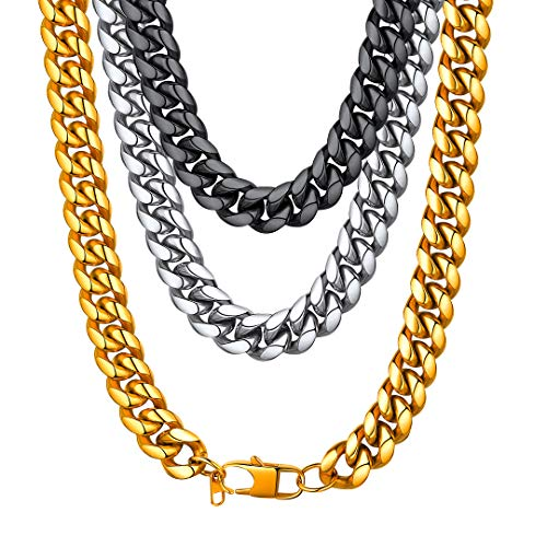 ChainsHouse Men Heavy Curb Cuban Chain Thick 14MM Wide Street Rock Hip Hop Style Jewelry Ion Plating Black Metal Chunky Necklace (24 inch)