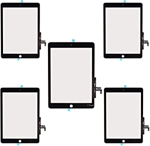 """T Phael Black Pack of 5 Touch Screen Digitizer Repair Kit for 2017 iPad 9.7"""" A1822 A1823 iPad 5 5th Gen/iPad Air 1st Front Glass Replacement (Without Home Button,not Include LCD) +Installed Adhesive"""